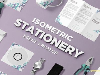 Free Isometric Stationery PSD Scene Creator photoshop presentation corporate identity brand identity branding scene creator stationery psd mockup freebie free