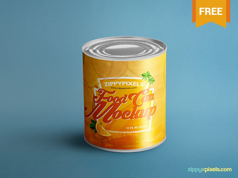 Free Food Can Mock-Up branding labeling packaging tin can food can can psd mockup freebie free