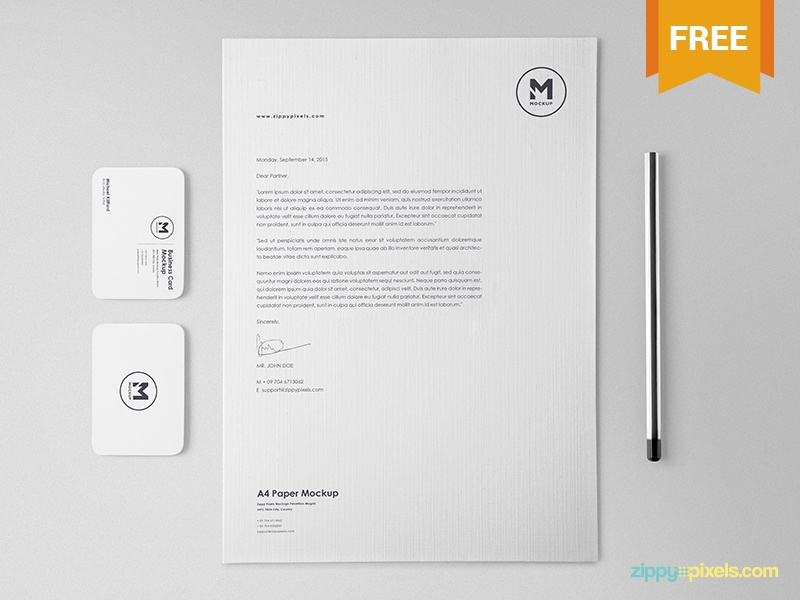 Free Classy Stationery Mockup Set a4 size letterhead business card corporate identity brand identity branding scene creator stationery psd mockup freebie free