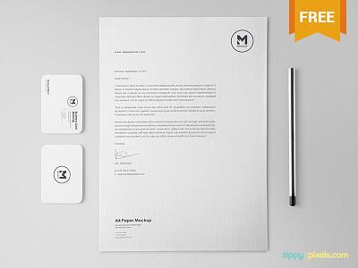 Free Classy Stationery Mockup Set a4 size letterhead business card corporate identity brand identity branding scene creator stationery psd mockup freebie free