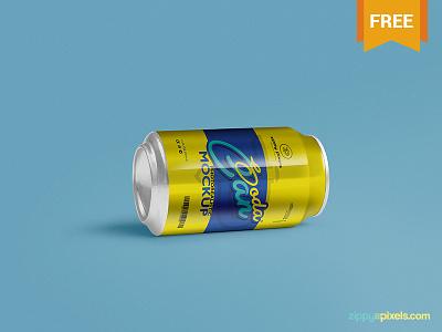 Free Soft Drink Can Mockup PSD customizable photoshop photorealistic presentation labeling packaging can mockup soft drink can soda can mockup freebie free