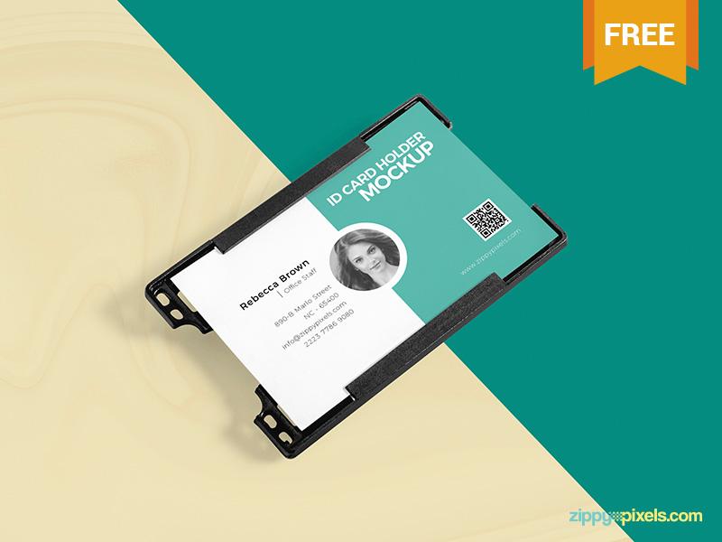 Free ID Card Holder Mockup PSD psd presentation visitingcards businesscards cardholder mockup id card holder freebie free