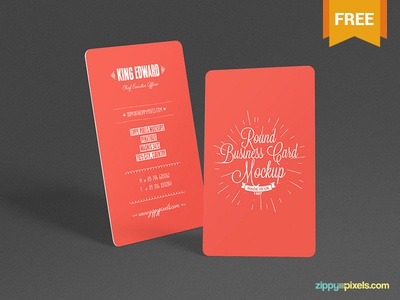 Free Round Business Card Mockup
