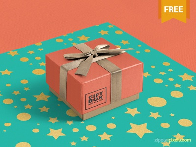 Free Gift Box Mockup PSD wrap wrappingpaper packaging box gift giftbox psd mockup freebie free