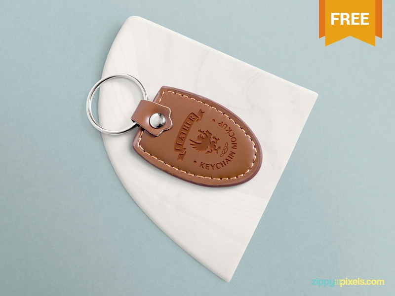 Download Free Leather Keychain Mockup PSD