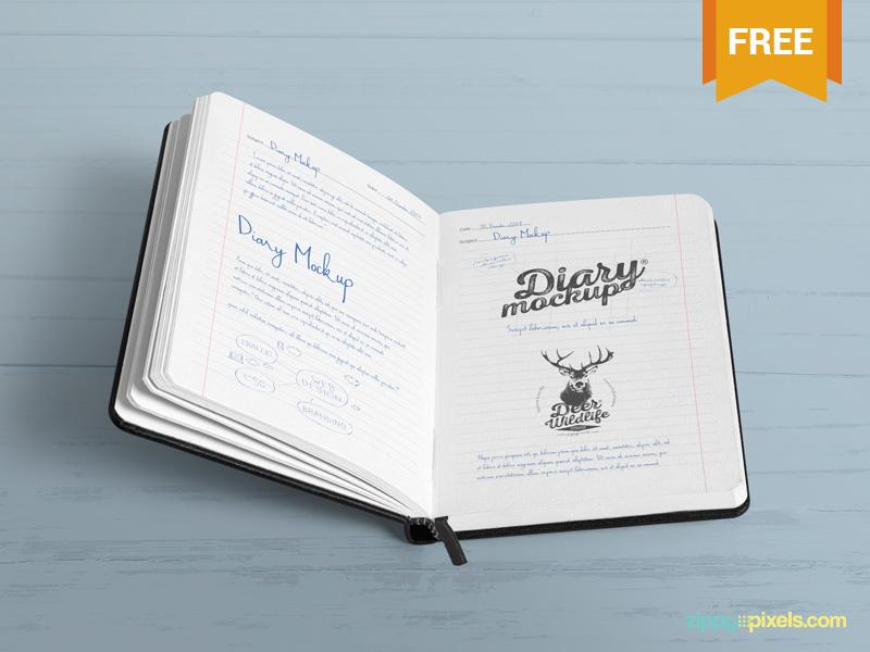 Free Open Diary Mockup PSD freemockup openbook opendiary diary notebook stationery photoshop mockup psd freebie free