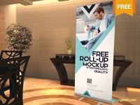 Free Elegant Roll Up Banner Mockup