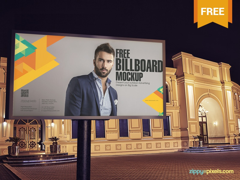 Free Billboard Mockup PSD ads signboard billboard advertisement photoshop psd mockup freebie free