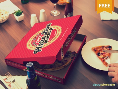 Free Finger-licking Good Pizza Mockup food packaging branding box pizza photoshop psd mockup freebie free