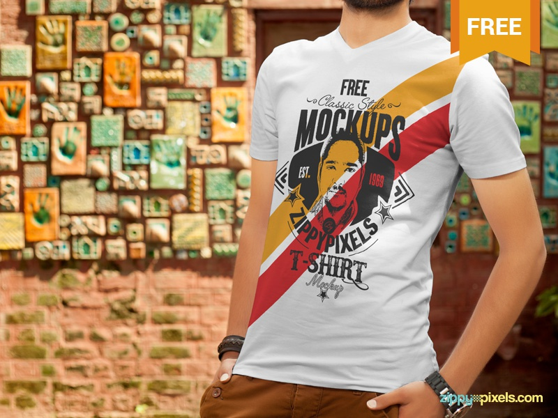 Free T-Shirt Design Mockup textile presentation clothing branding apparel design t-shirt photoshop psd mockup freebie free