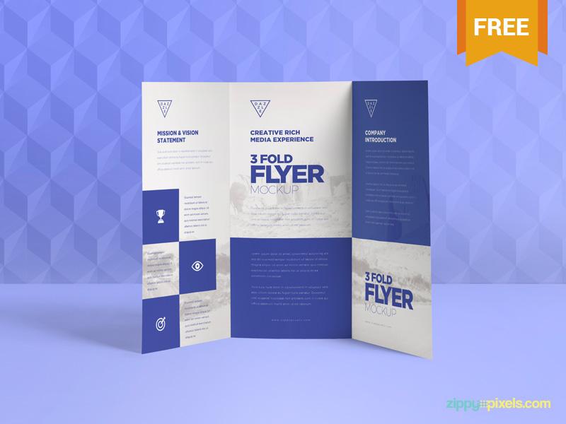 Free & Graceful 3 Fold Brochure Mockups advertising fold tri brochure flyer photoshop psd mockup freebie free
