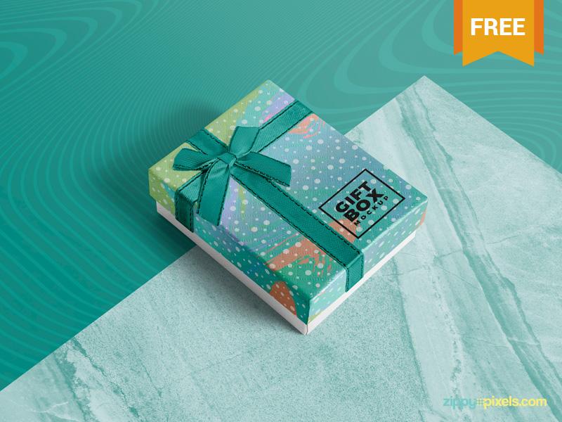 Free Photorealistic Gift Box Mockup giftbox branding packaging gift box photoshop psd mockup freebie free