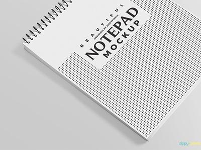 Free and Charming Ringed Notepad Mockup spiral ringed pad writing notepad photoshop psd mockup freebie free