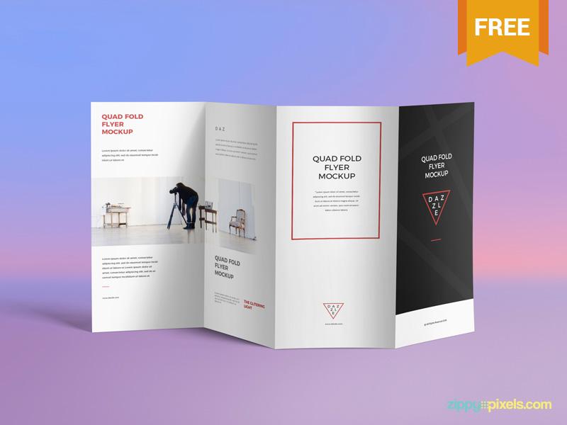free brilliant 4 fold brochure mockup by zippypixels dribbble