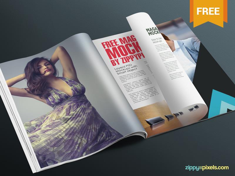 Free Realistic Magazine Page Mockup branding ad advertising magazine page photoshop psd mockup freebie free