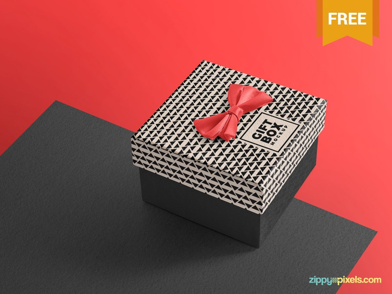 Free & Delicate Gift Box Mockup wrapping packaging gift box photoshop psd mockup freebie free