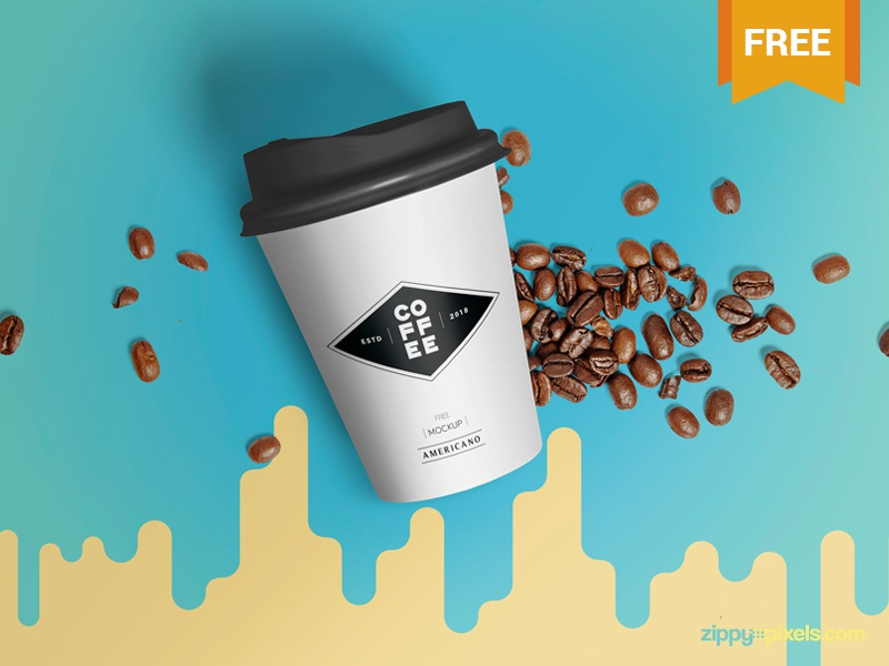 Free Paper Cup Mockup coffee packaging branding disposable cup paper photoshop psd mockup freebie free