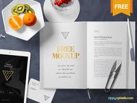 Free Stylish Book Page Mockup Scene