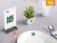 Free Table Menu Mockup Scene