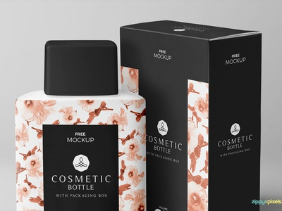 Free Realistic Cosmetic Bottle Mockup packaging branding box bottle cosmetic photoshop psd mockup freebie free