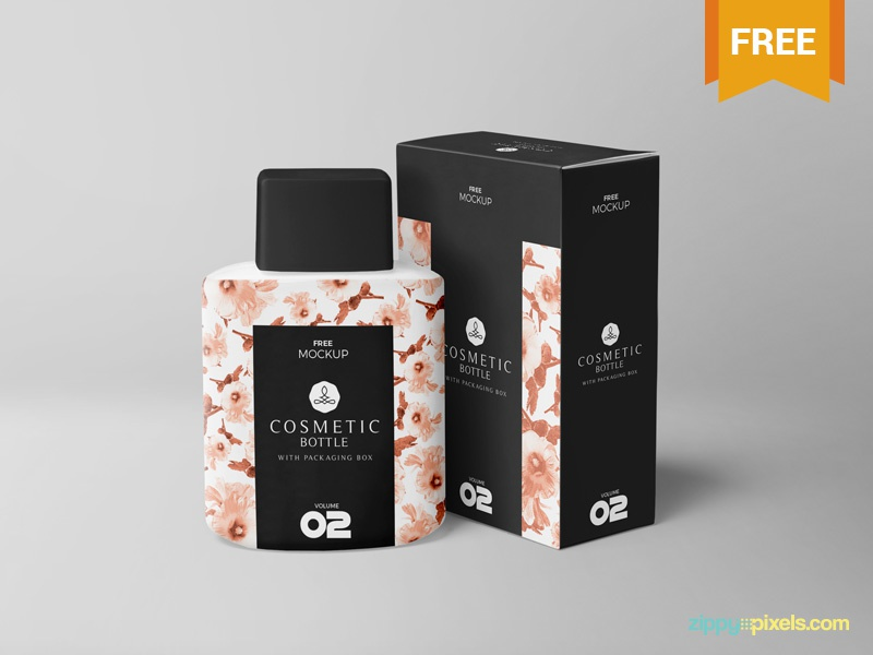 Free Realistic Cosmetic Bottle Mockup packaging branding box bottle cosmetic photoshop psd mockup freebie free
