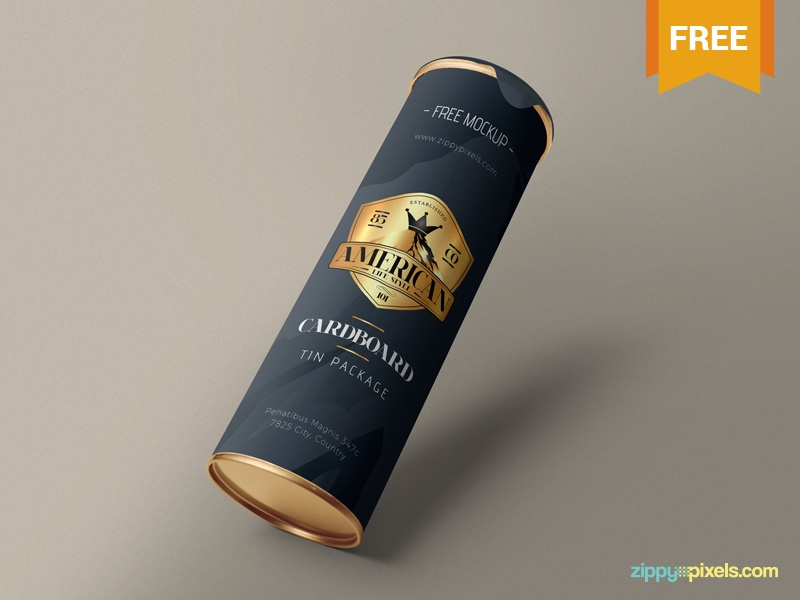 Free Stunning Cardboard Tube Mockup tin branding packaging cardboard tube photoshop psd mockup freebie free
