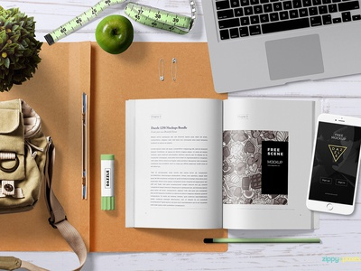 Free Attractive Book Mock Up Scene miscellaneous branding macbook iphone book photoshop psd mockup freebie free