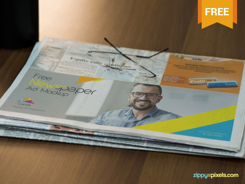 Free Half Folded Newspaper Mockup advert ad advertisement newspaper photoshop psd mockup freebie free