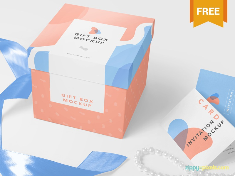Free Luxury Gift Mockup card greeting packaging box gift photoshop psd mockup freebie free