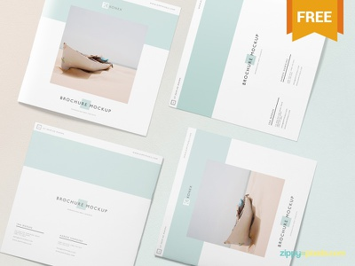 Free Square Brochure Mockup Scene advertisement booklet catalog square flyer brochure photoshop psd mockup freebie free