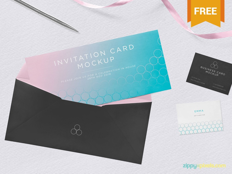 Free Invitation Mockup Psd By Zippypixels Dribbble Dribbble