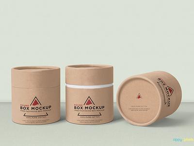 Free Round Box Mockup packaging branding box cardboard round box photoshop psd mockup freebie free