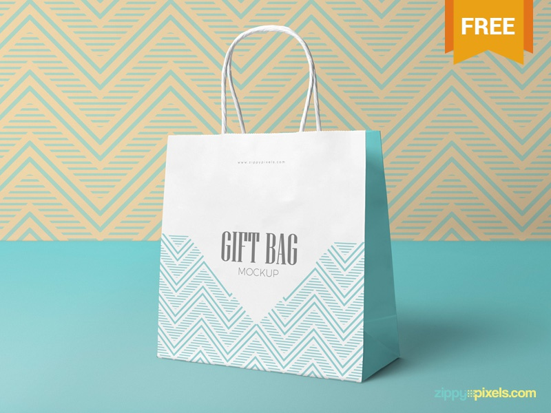 Free Attractive Gift Bag Mockup branding packaging shopping bag bag gift photoshop psd mockup freebie free