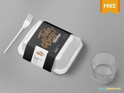 Free Disposable Food Packaging Mockup disposable box box branding packaging food photoshop psd mockup freebie free