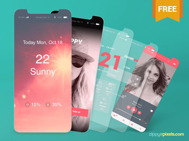 2 Free iOS App Presentation Mockups mobile application apple games iphone 8 iphone x app presentation ios photoshop psd mockup freebie free