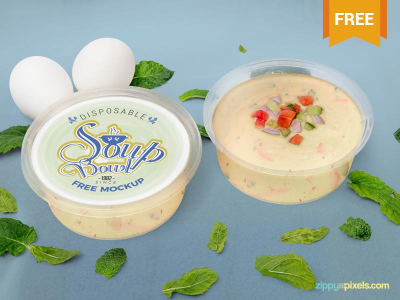 Free Disposable Soup Bowl Mockup presentation packaging soup disposable food bowl photoshop psd mockup freebie free