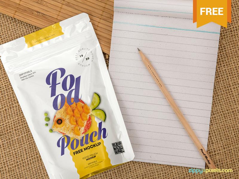 Free Food Pack Mockup presentation zip pack packaging pouch pack photoshop psd mockup freebie free