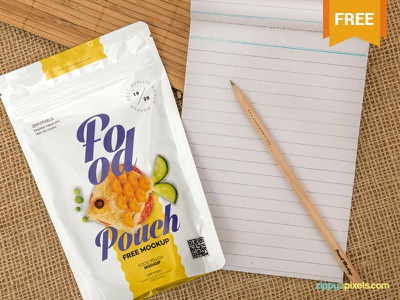 Free Food Pack Mockup presentation zip pack packaging pouch pack photoshop psd mockup freebie free