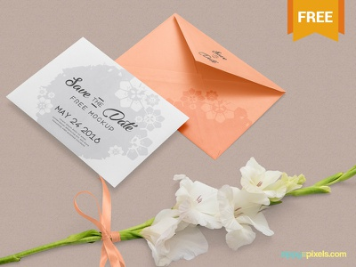 Free Greeting Card Mockup PSD wedding card save the date greeting invitation card photoshop psd mockup freebie free