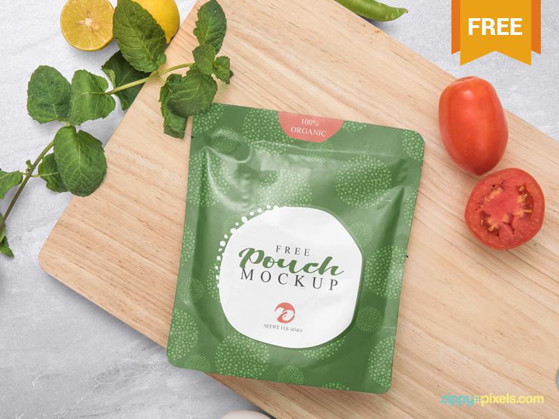 Free Sealed Sachet Mockup presentation branding pouch packaging sachet photoshop psd mockup freebie free
