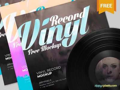 Free Record Album Mockup presentation vintage retro music record album photoshop psd mockup freebie free