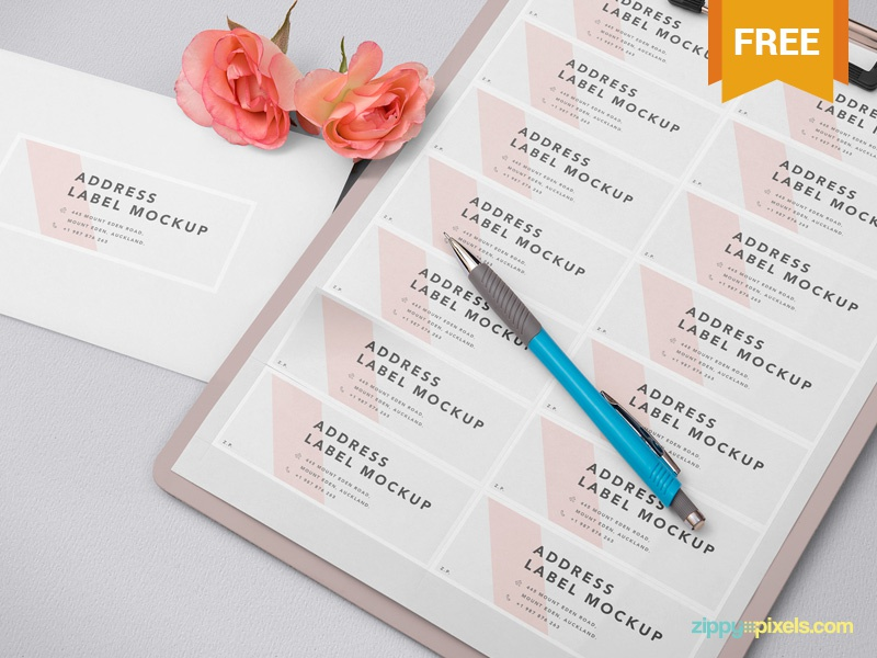 Free Wedding Address Label Mockup stationery presentation card invitation label address photoshop psd mockup freebie free