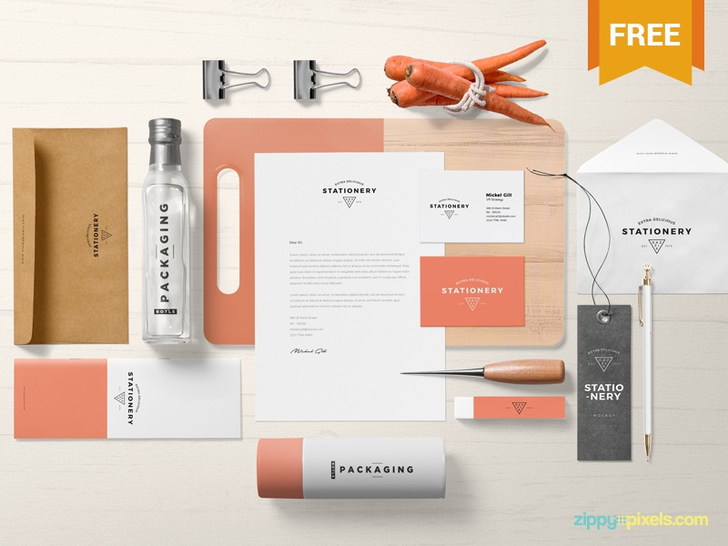 Free Gorgeous Branding Mockup Scene presentation apparel packaging stationery branding photoshop psd mockup freebie free
