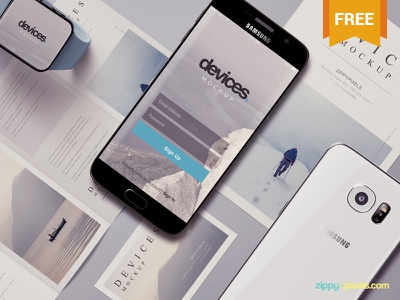 Free Android Mobile Mockup Scene screen app devices s6 samsung android mobile photoshop psd mockup freebie free