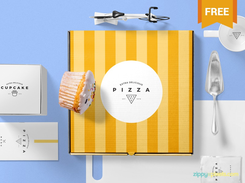Free Pizza Packaging Mockup Scene food box packaging pizza photoshop psd mockup freebie free