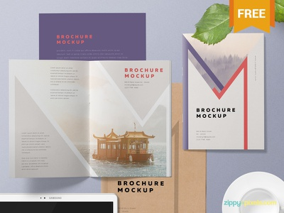 Free A5 Brochure Mockup PSD advertisement branding booklet catalog brochure photoshop psd mockup freebie free