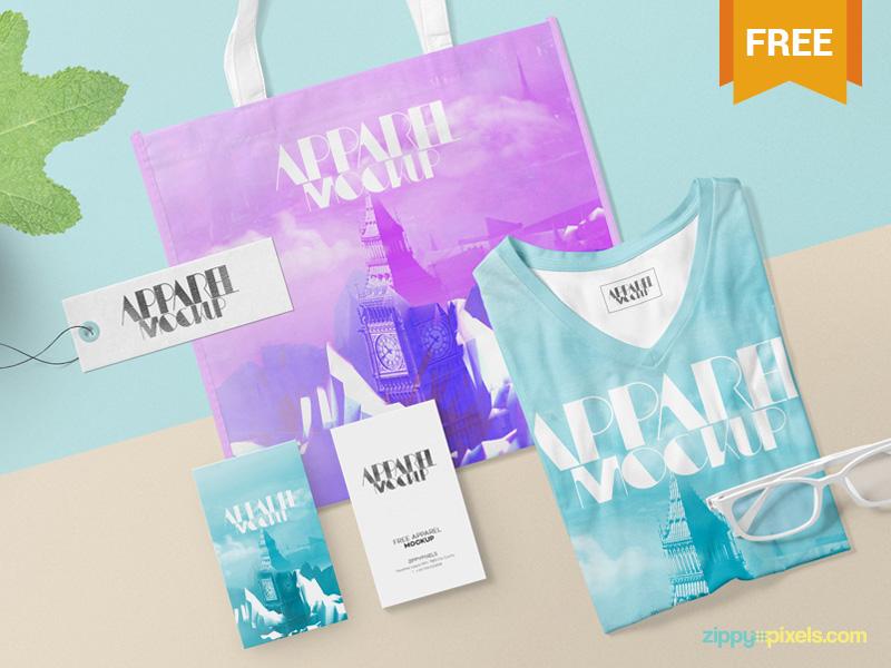 Free Modish Apparel Mockup business card tote bag tag t-shirt clothing apparel photoshop psd mockup freebie free