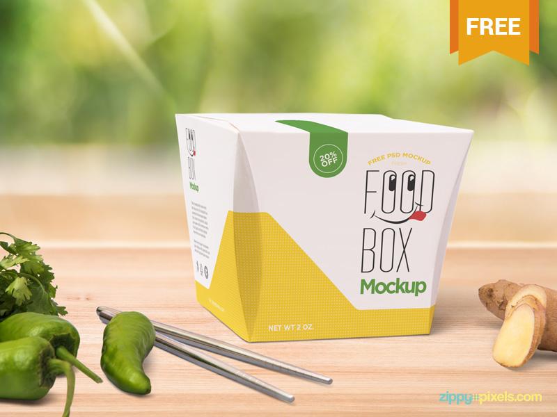 Free Realistic Lunch Box Mockup presentation branding food packaging paper box lunch box photoshop psd mockup freebie free
