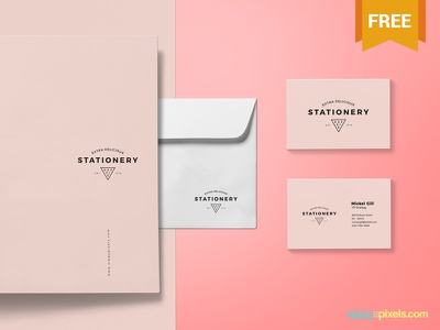 Free Brand Identity Mockup envelope business card letterhead branding stationery photoshop psd mockup freebie free