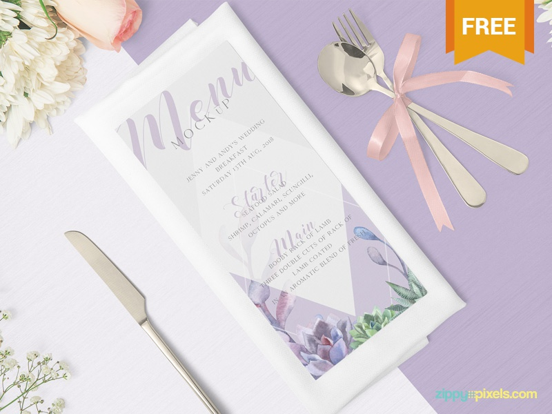 Free Gorgeous Restaurant Menu Mockup branding card brochure flyer menu photoshop psd mockup freebie free